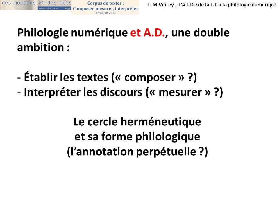 J.-M.Viprey _ L'A.T.D. : de la L.T. à la philologie numérique Philologie numérique et A.D., une double ambition : - Établir les textes (« composer » ?