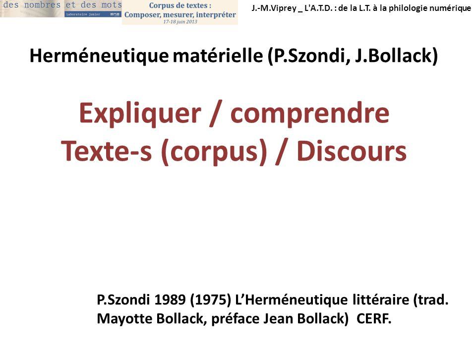 J.-M.Viprey _ L'A.T.D. : de la L.T. à la philologie numérique Herméneutique matérielle (P.Szondi, J.Bollack) Expliquer / comprendre Texte-s (corpus) /