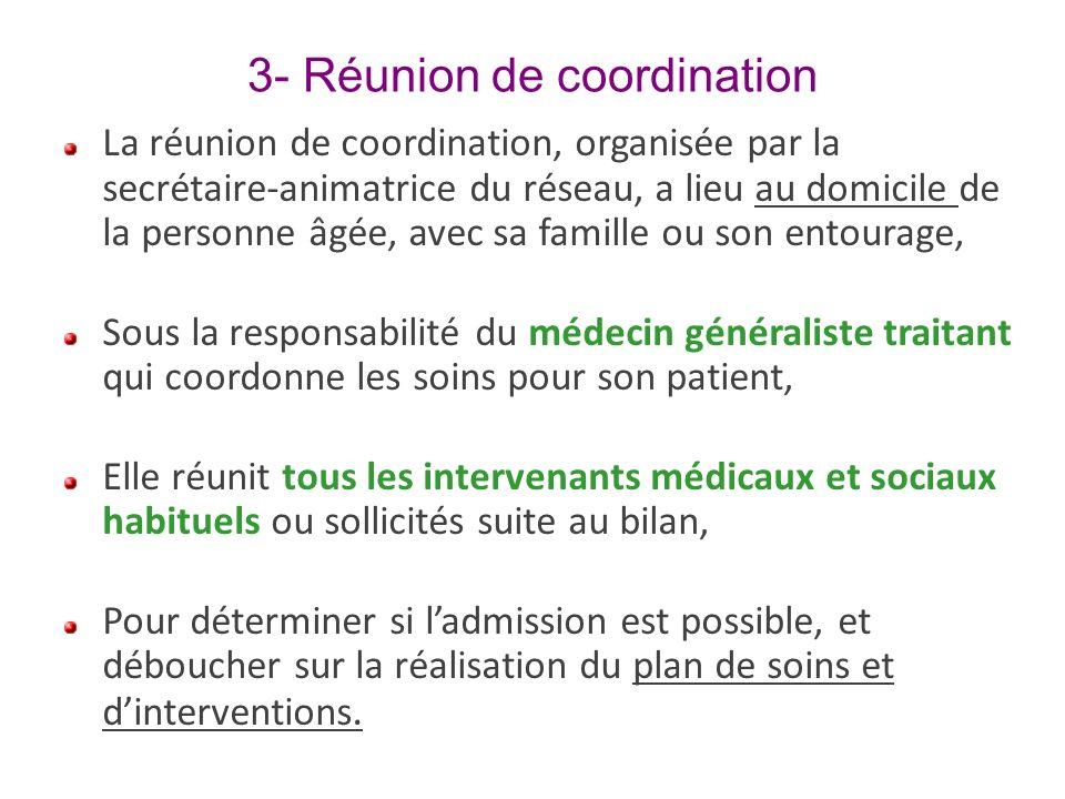 3- Réunion de coordination La réunion de coordination, organisée par la secrétaire-animatrice du réseau, a lieu au domicile de la personne âgée, avec