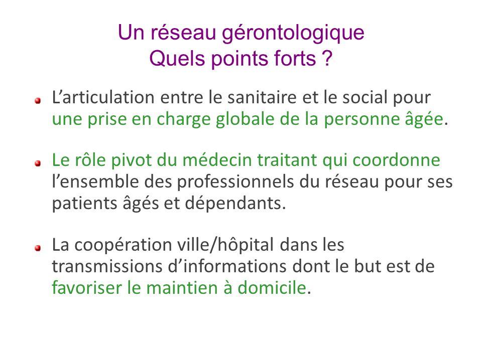 Un réseau gérontologique Quels points forts ? Larticulation entre le sanitaire et le social pour une prise en charge globale de la personne âgée. Le r