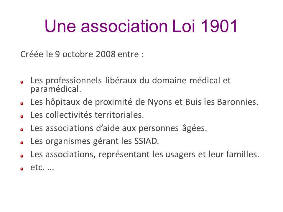 Une association Loi 1901 Créée le 9 octobre 2008 entre : Les professionnels libéraux du domaine médical et paramédical. Les hôpitaux de proximité de N