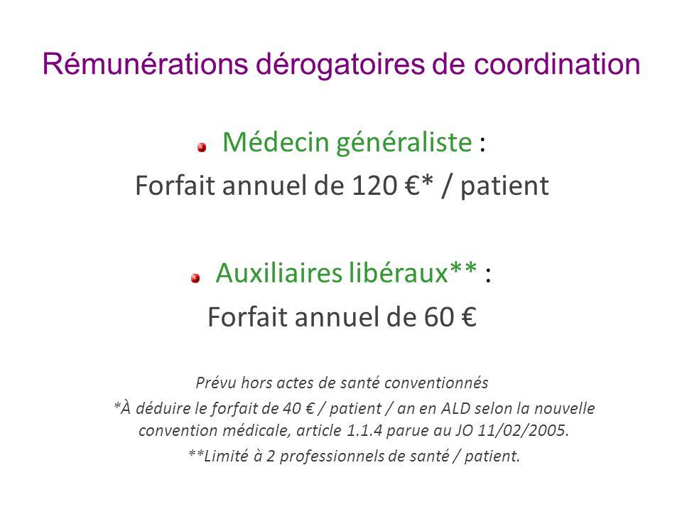Rémunérations dérogatoires de coordination Médecin généraliste : Forfait annuel de 120 * / patient Auxiliaires libéraux** : Forfait annuel de 60 Prévu