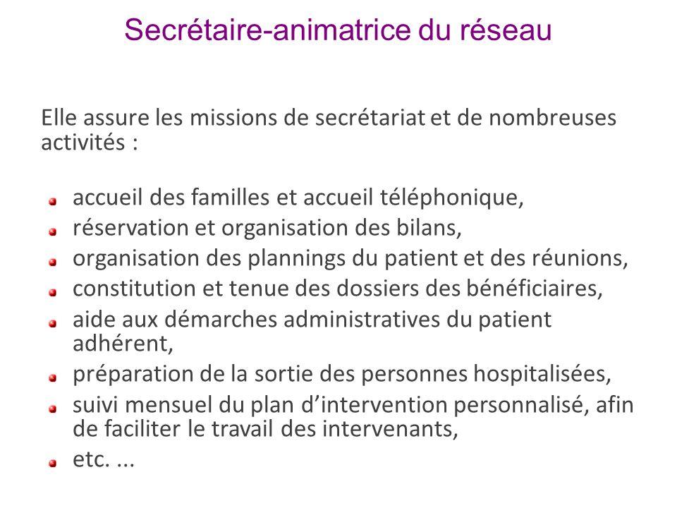 Secrétaire-animatrice du réseau Elle assure les missions de secrétariat et de nombreuses activités : accueil des familles et accueil téléphonique, rés