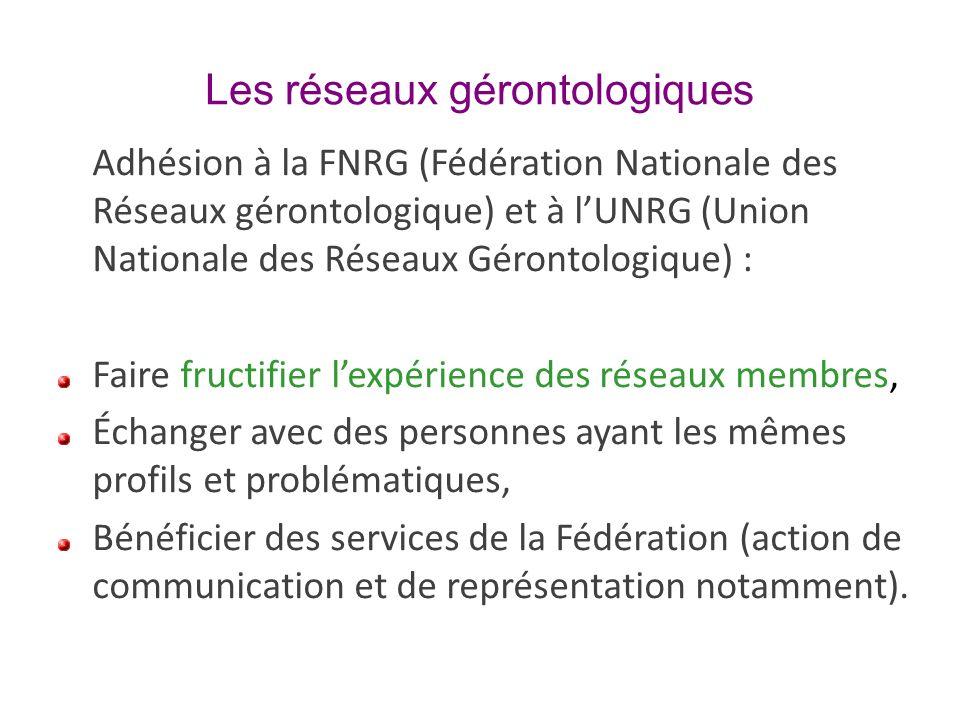 Les réseaux gérontologiques Adhésion à la FNRG (Fédération Nationale des Réseaux gérontologique) et à lUNRG (Union Nationale des Réseaux Gérontologiqu