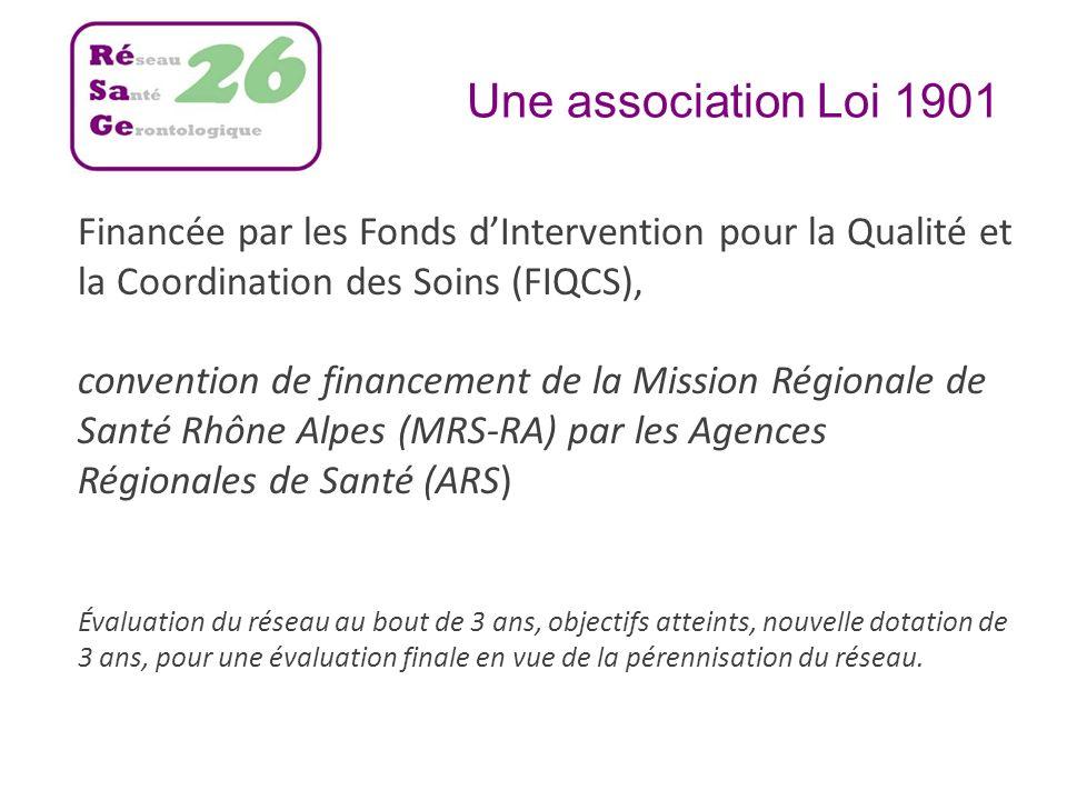 Une association Loi 1901 Financée par les Fonds dIntervention pour la Qualité et la Coordination des Soins (FIQCS), convention de financement de la Mi