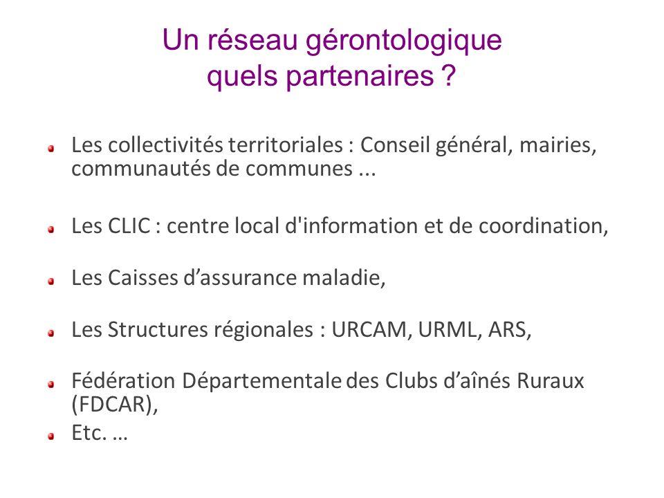 Un réseau gérontologique quels partenaires ? Les collectivités territoriales : Conseil général, mairies, communautés de communes... Les CLIC : centre