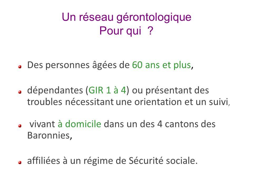 Un réseau gérontologique Pour qui ? Des personnes âgées de 60 ans et plus, dépendantes (GIR 1 à 4) ou présentant des troubles nécessitant une orientat
