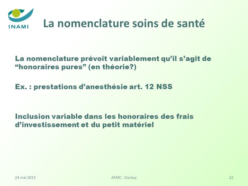 La nomenclature soins de santé La nomenclature prévoit variablement quil sagit de honoraires pures (en théorie?) Ex.