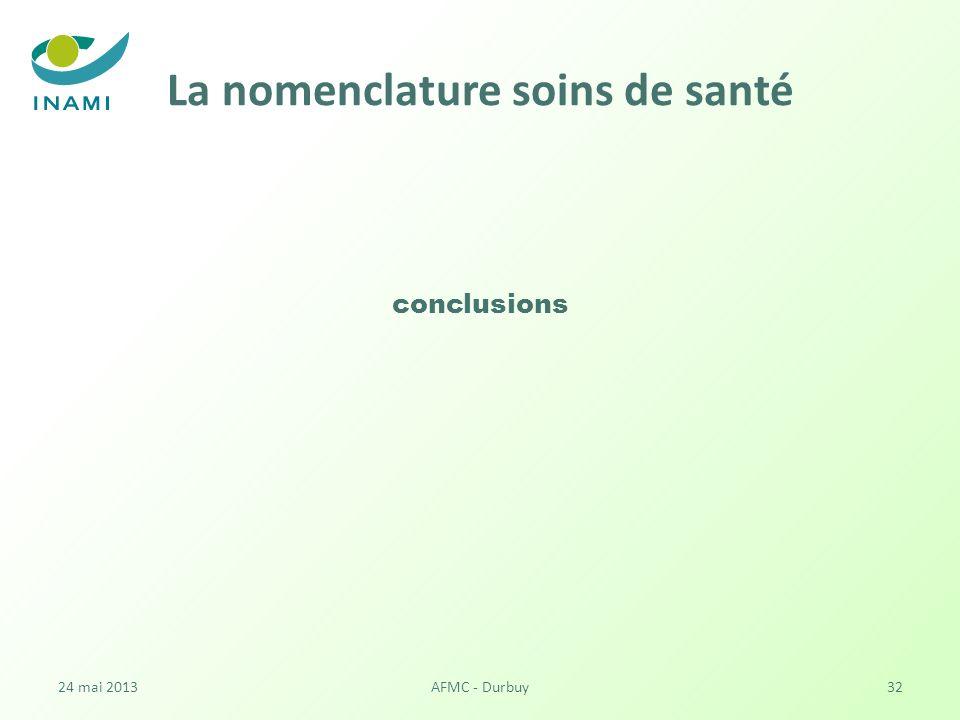 La nomenclature soins de santé conclusions 24 mai 2013AFMC - Durbuy32