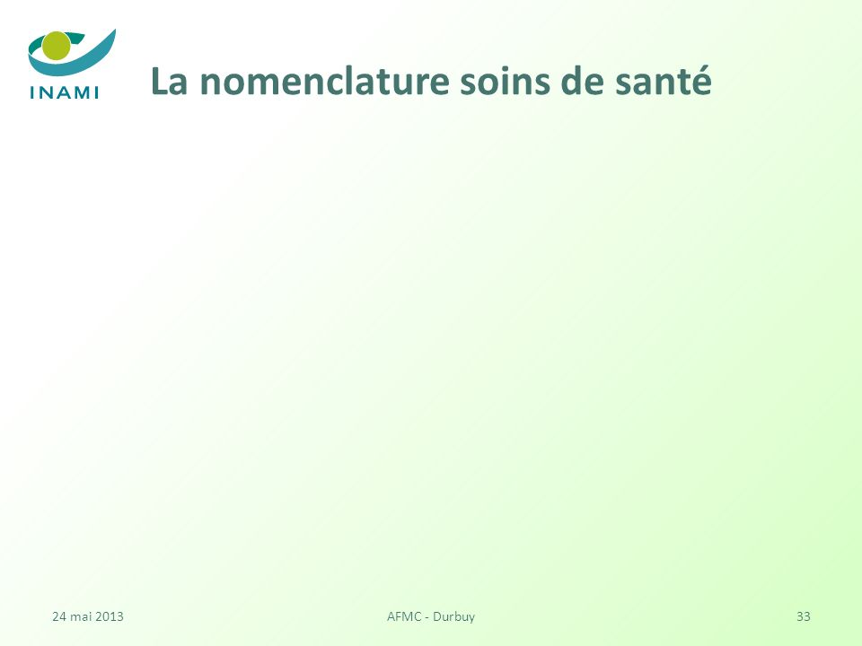 La nomenclature soins de santé 24 mai 2013AFMC - Durbuy33