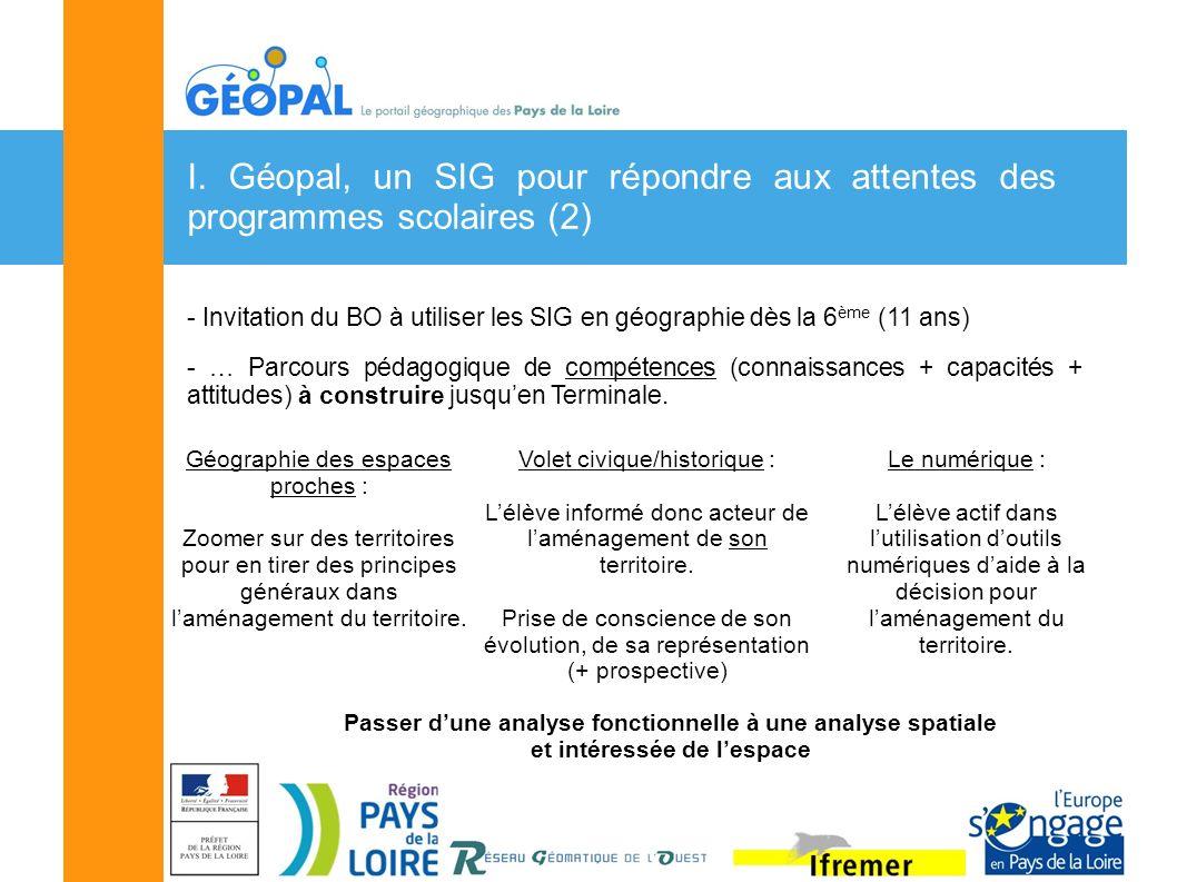 I. Géopal, un SIG pour répondre aux attentes des programmes scolaires (2) - Invitation du BO à utiliser les SIG en géographie dès la 6 ème (11 ans) -