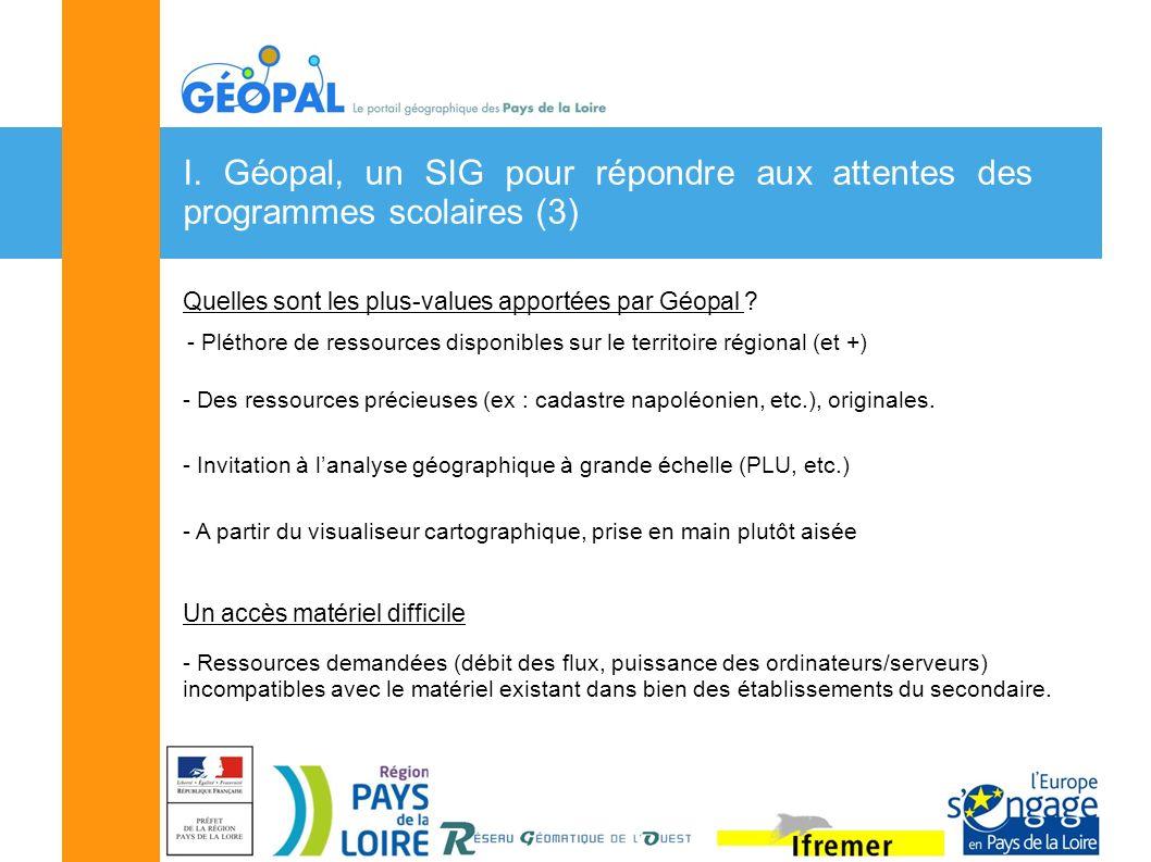 I. Géopal, un SIG pour répondre aux attentes des programmes scolaires (3) Quelles sont les plus-values apportées par Géopal ? - Pléthore de ressources