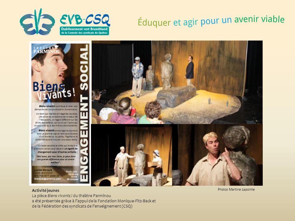 Photos Martine Lapointe Activité jeunes La pièce Biens vivants ! du théâtre Parminou a été présentée grâce à lappui de la Fondation Monique-Fitz-Back