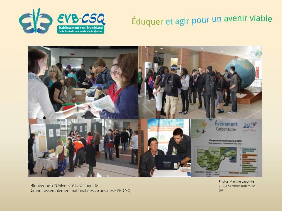 Photos Martine Lapointe (1,2,3,5) Émilie Robitaille (4) Bienvenue à lUniversité Laval pour le Grand rassemblement national des 20 ans des EVB-CSQ