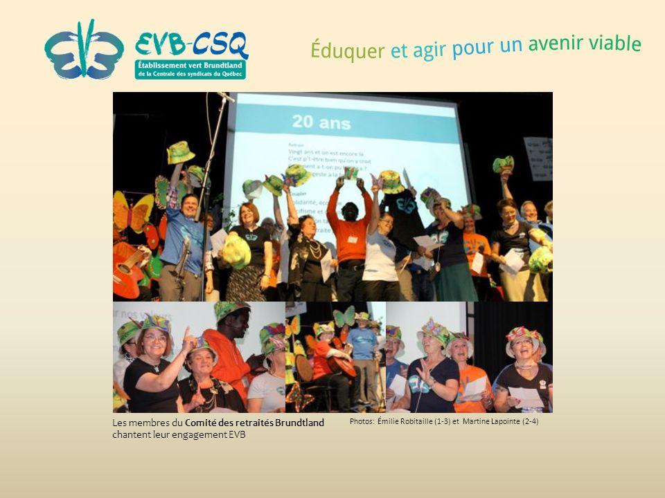 Photos: Émilie Robitaille (1-3) et Martine Lapointe (2-4) Les membres du Comité des retraités Brundtland chantent leur engagement EVB