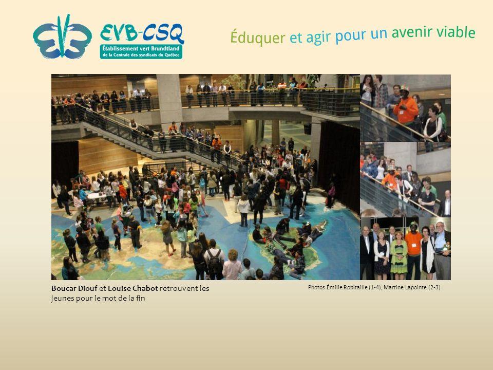 Photos Émilie Robitaille (1-4), Martine Lapointe (2-3) Boucar Diouf et Louise Chabot retrouvent les jeunes pour le mot de la fin