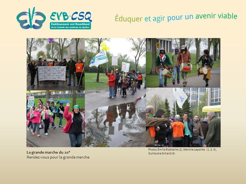 La grande marche du 20 e Rendez-vous pour la grande marche Photos Émilie Robitaille (2), Martine Lapointe (1, 3, 5), Guillaume Simard (4)