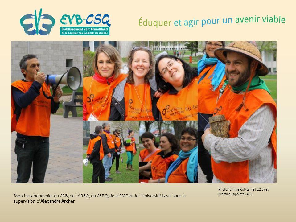 Photos Émilie Robitaille (1,2,3) et Martine Lapointe (4,5) Merci aux bénévoles du CRB, de lAREQ, du CSRQ, de la FMF et de lUniversité Laval sous la su