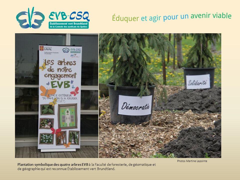 Photos Martine Lapointe Plantation symbolique des quatre arbres EVB à la Faculté de foresterie, de géomatique et de géographie qui est reconnue Établi