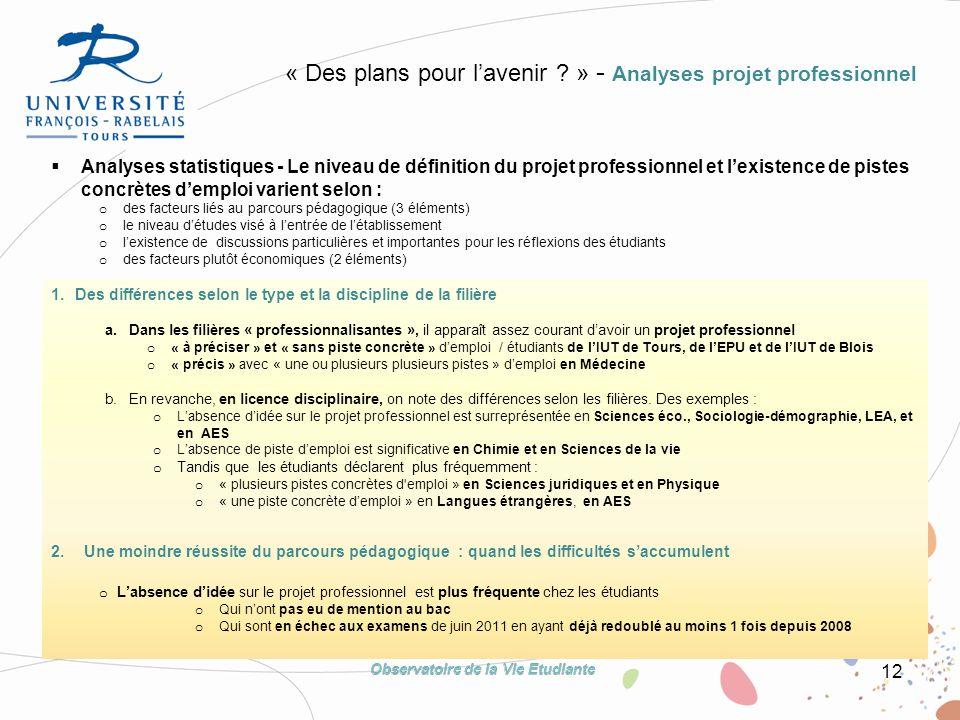 12 « Des plans pour lavenir ? » - Analyses projet professionnel 1.Des différences selon le type et la discipline de la filière a.Dans les filières « p