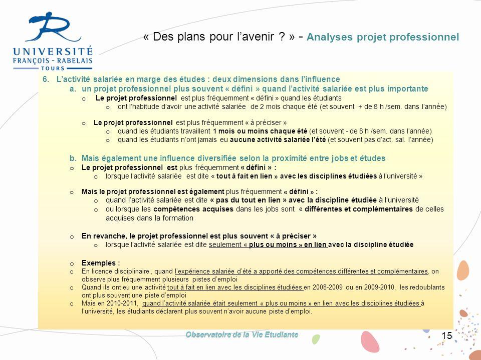 15 6. Lactivité salariée en marge des études : deux dimensions dans linfluence a.un projet professionnel plus souvent « défini » quand lactivité salar