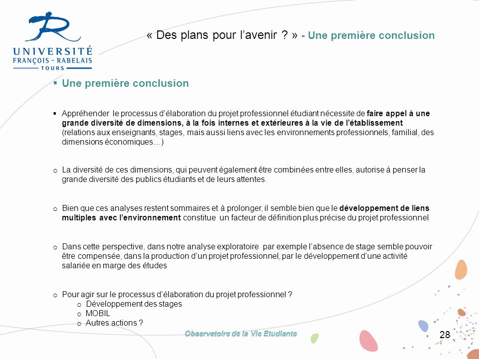 28 « Des plans pour lavenir ? » - Une première conclusion Une première conclusion Appréhender le processus délaboration du projet professionnel étudia