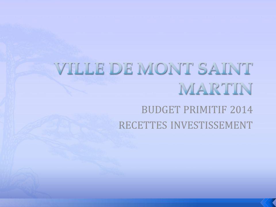 BUDGET PRIMITIF 2014 RECETTES INVESTISSEMENT