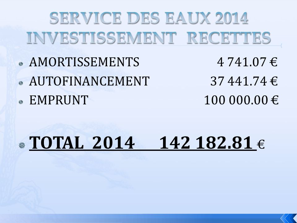 AMORTISSEMENTS 4 741.07 AUTOFINANCEMENT 37 441.74 EMPRUNT 100 000.00 TOTAL 2014 142 182.81