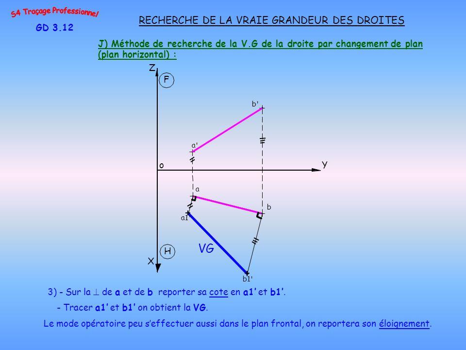 J) Méthode de recherche de la V.G de la droite par changement de plan (plan horizontal) : GD 3.12 RECHERCHE DE LA VRAIE GRANDEUR DES DROITES 3) - Sur