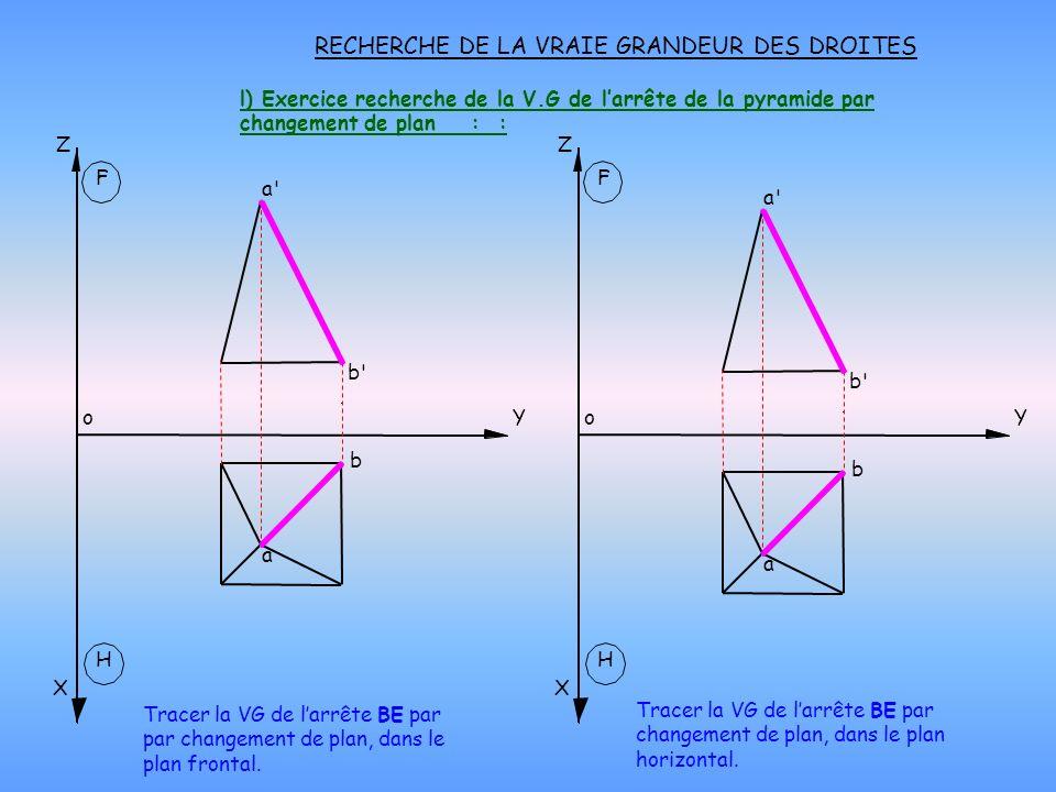 l) Exercice recherche de la V.G de larrête de la pyramide par changement de plan : : RECHERCHE DE LA VRAIE GRANDEUR DES DROITES H X oY Z F H X oY Z F