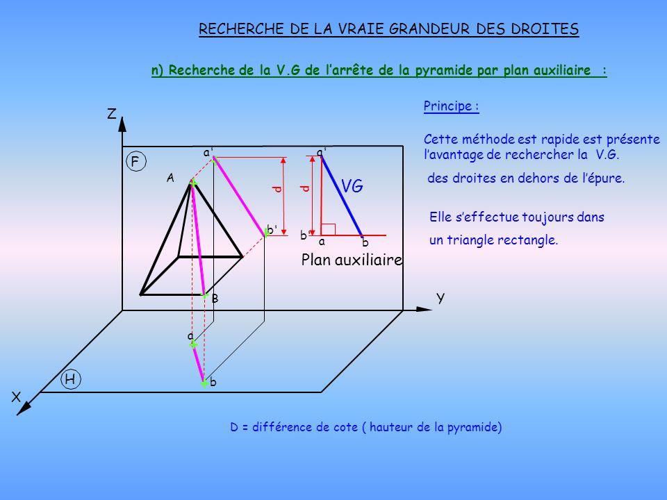 n) Recherche de la V.G de larrête de la pyramide par plan auxiliaire : RECHERCHE DE LA VRAIE GRANDEUR DES DROITES Principe : D = différence de cote (