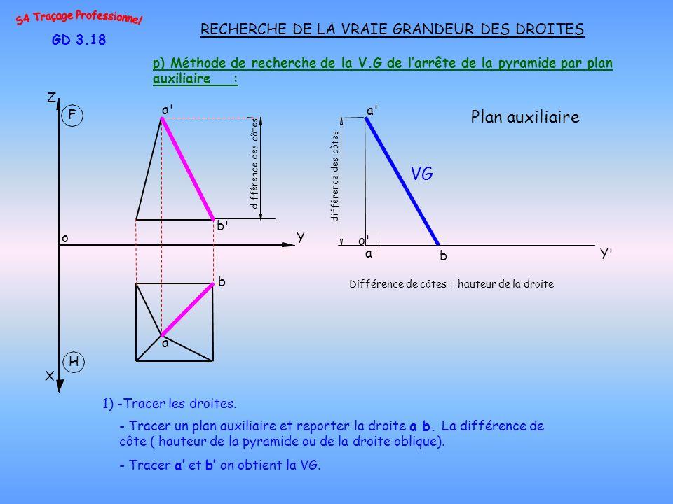 p) Méthode de recherche de la V.G de larrête de la pyramide par plan auxiliaire : GD 3.18 RECHERCHE DE LA VRAIE GRANDEUR DES DROITES 1) -Tracer les dr