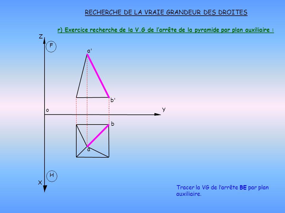 r) Exercice recherche de la V.G de larrête de la pyramide par plan auxiliaire : RECHERCHE DE LA VRAIE GRANDEUR DES DROITES H X oY Z F Tracer la VG de