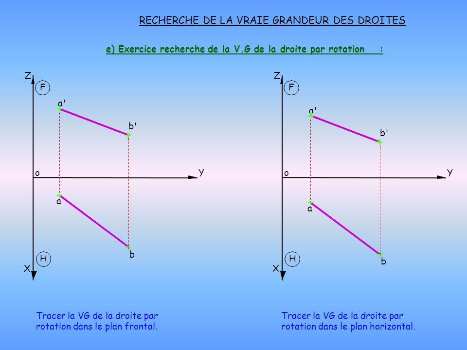 e) Exercice recherche de la V.G de la droite par rotation : RECHERCHE DE LA VRAIE GRANDEUR DES DROITES H X oY Z F H X oY Z F Tracer la VG de la droite