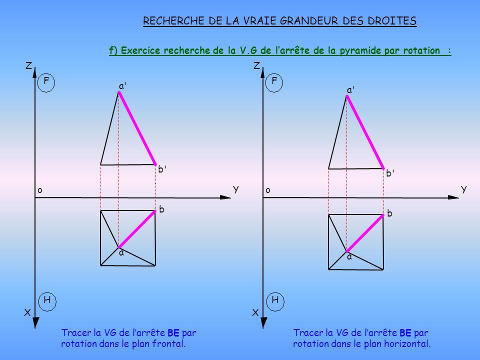 f) Exercice recherche de la V.G de larrête de la pyramide par rotation : RECHERCHE DE LA VRAIE GRANDEUR DES DROITES H X oY Z F H X oY Z F Tracer la VG