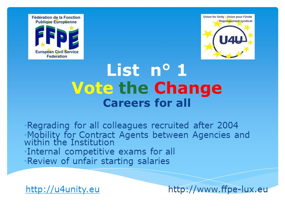 List n° 1 Vote the Change Careers for all Regrading for all colleagues recruited after 2004 Mobility for Contract Agents between Agencies and within the Institution Internal competitive exams for all Review of unfair starting salaries