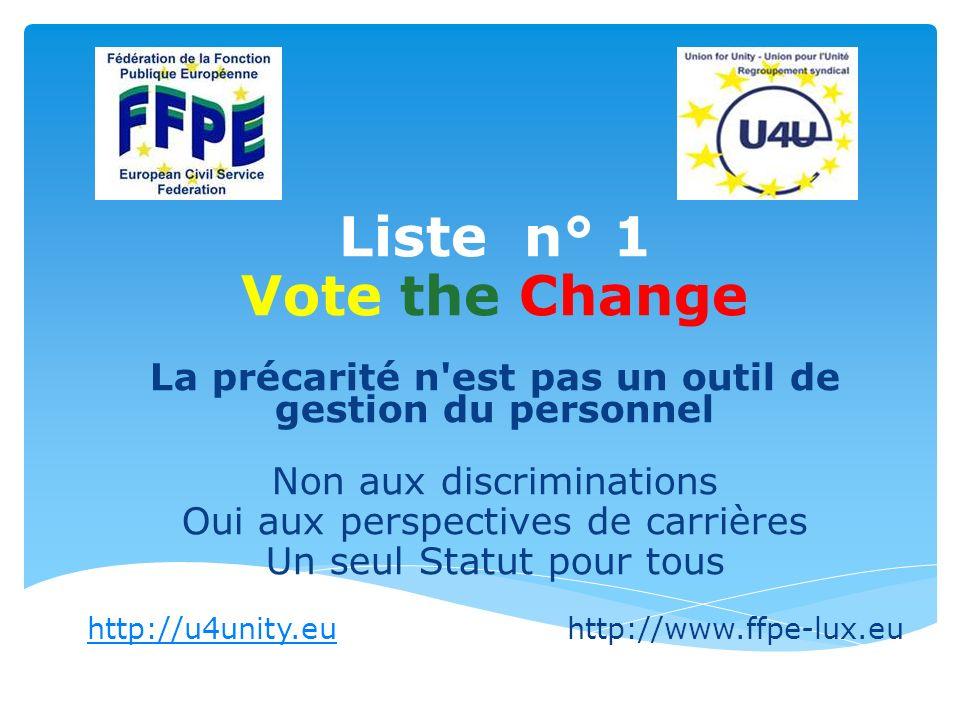 Liste n° 1 Vote the Change La précarité n est pas un outil de gestion du personnel Non aux discriminations Oui aux perspectives de carrières Un seul Statut pour tous http://u4unity.euhttp://u4unity.euhttp://www.ffpe-lux.eu