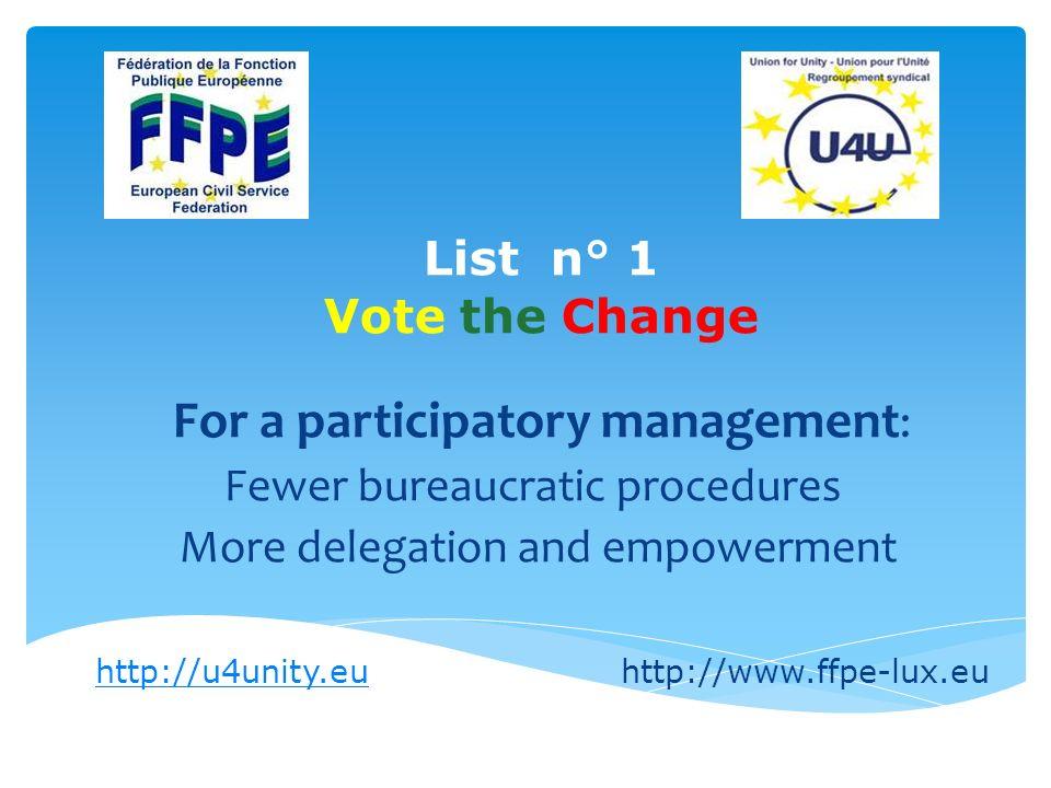 Liste n° 1 Vote the Change Penser neuf: Modernisons les conditions de travail.