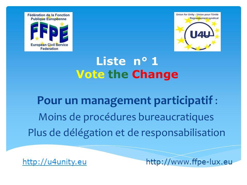 Liste n° 1 Vote the Change Pour un management participatif : Moins de procédures bureaucratiques Plus de délégation et de responsabilisation http://u4unity.euhttp://u4unity.euhttp://www.ffpe-lux.eu