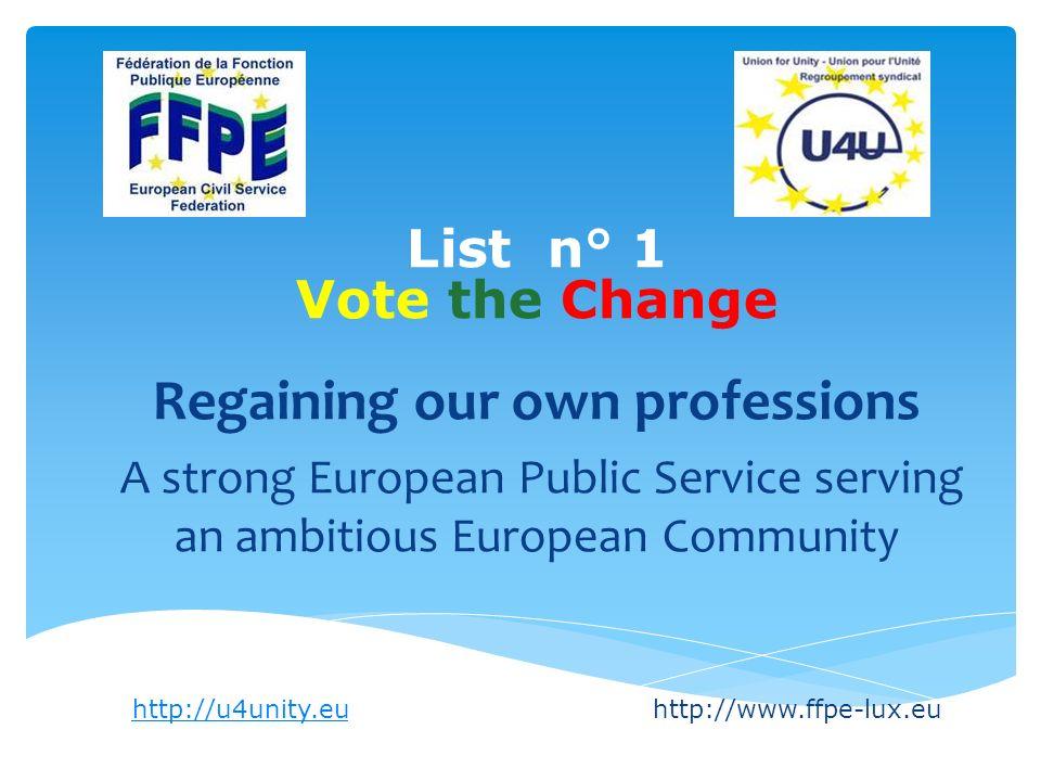 Liste n° 1 Vote the Change Pour atténuer le retour aux 40 h Améliorons le flexitime Facilitons le télétravail Plus de places dans les crèches/garderies et dans les garderies post-scolaires Facilitons le temps partiel par des partages de postes http://u4unity.euhttp://u4unity.euhttp://www.ffpe-lux.eu