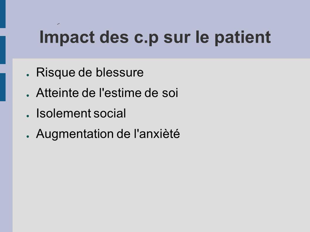 Impact des c.p sur le patient Risque de blessure Atteinte de l estime de soi Isolement social Augmentation de l anxièté