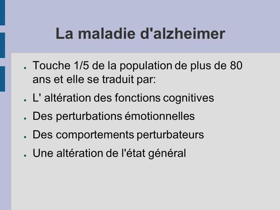 La maladie d alzheimer Touche 1/5 de la population de plus de 80 ans et elle se traduit par: L altération des fonctions cognitives Des perturbations émotionnelles Des comportements perturbateurs Une altération de l état général