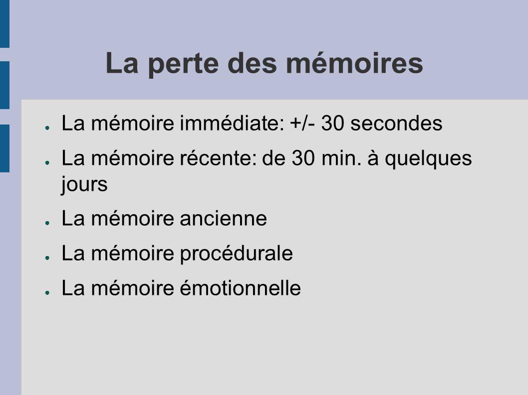 La perte des mémoires La mémoire immédiate: +/- 30 secondes La mémoire récente: de 30 min.