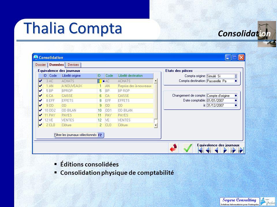 Thalia Compta Consolidation Éditions consolidées Consolidation physique de comptabilité