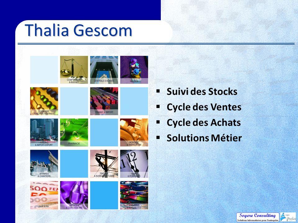 Thalia Gescom Thalia Gescom Suivi des Stocks Cycle des Ventes Cycle des Achats Solutions Métier