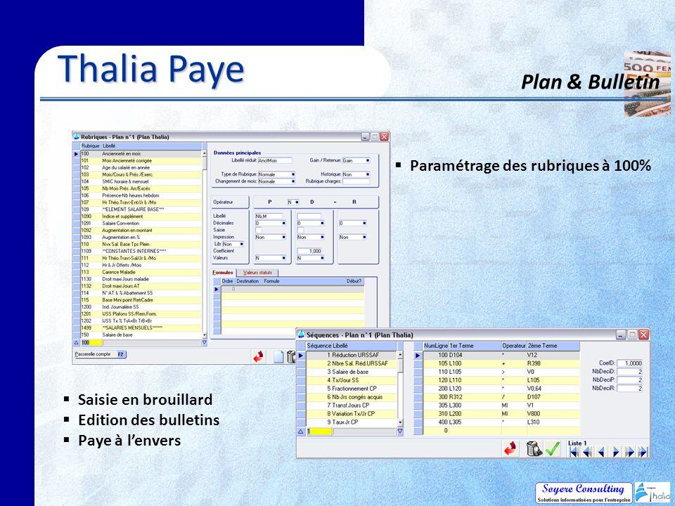 Thalia Paye Plan & Bulletin Paramétrage des rubriques à 100% Saisie en brouillard Edition des bulletins Paye à lenvers