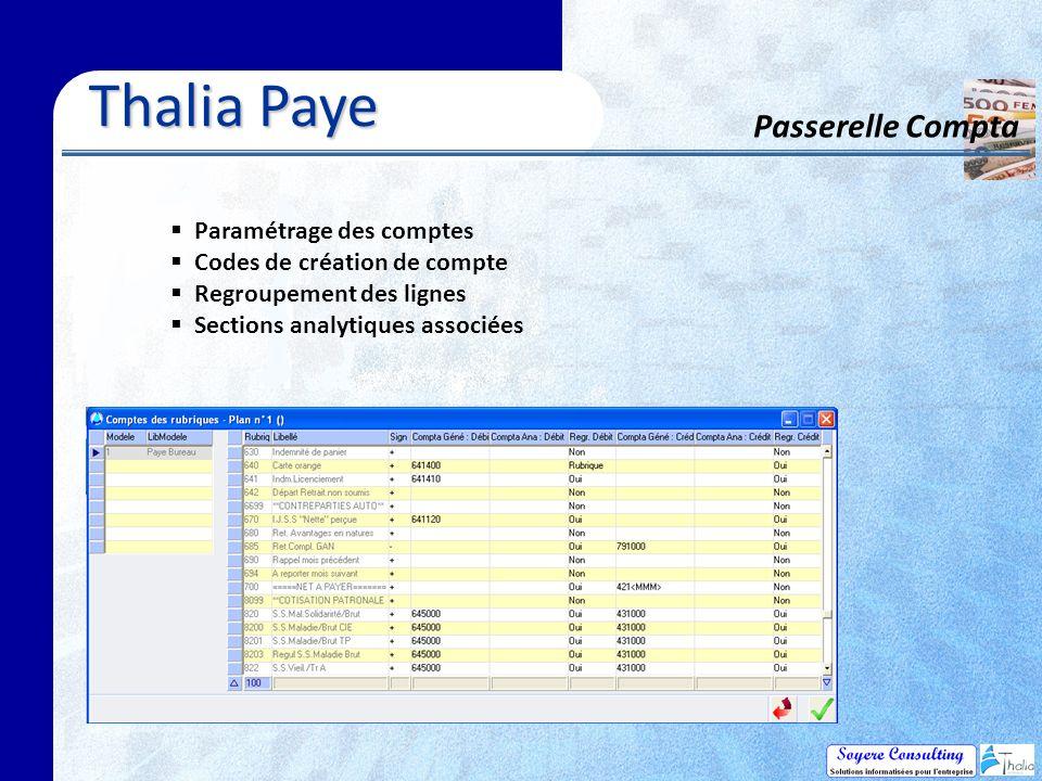 Thalia Paye Passerelle Compta Paramétrage des comptes Codes de création de compte Regroupement des lignes Sections analytiques associées