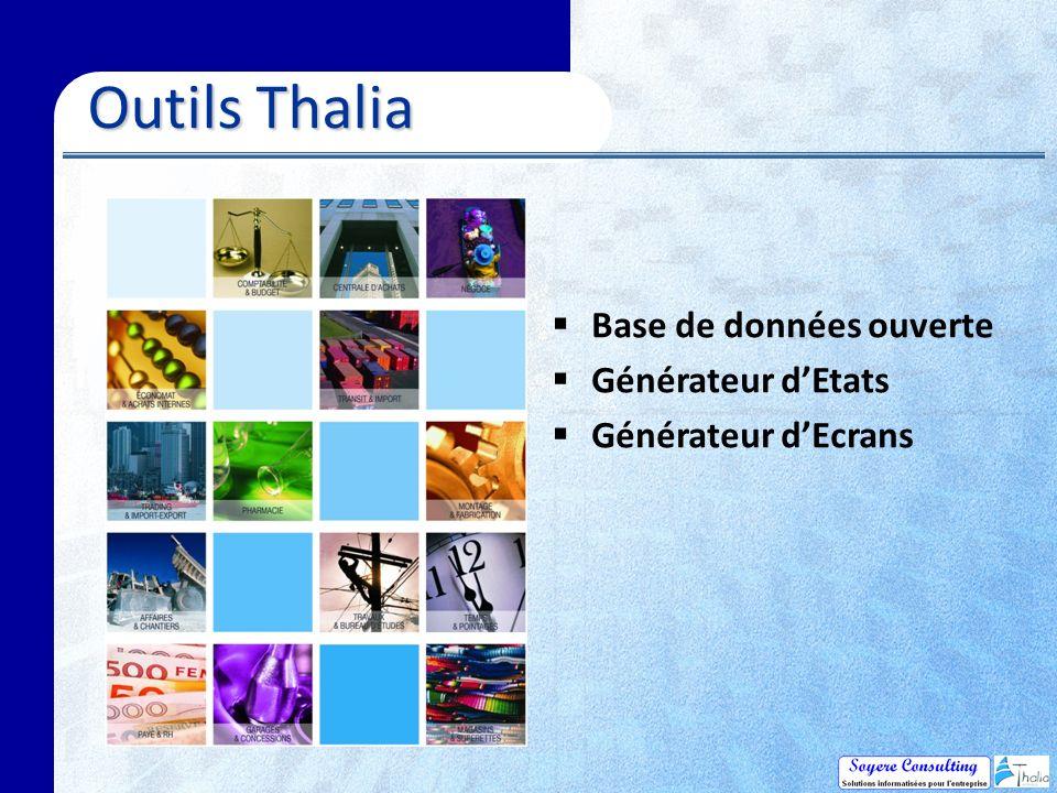 Outils Thalia Outils Thalia Base de données ouverte Générateur dEtats Générateur dEcrans