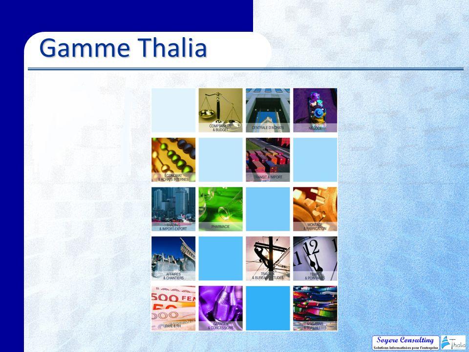 Thalia Gescom Fiche Client Écran fonction de la nature du tiers Visualisation devis, commandes en cours Conditions de règlements Consultation comptable Adresses multiples Interlocuteurs Comptes-rendus