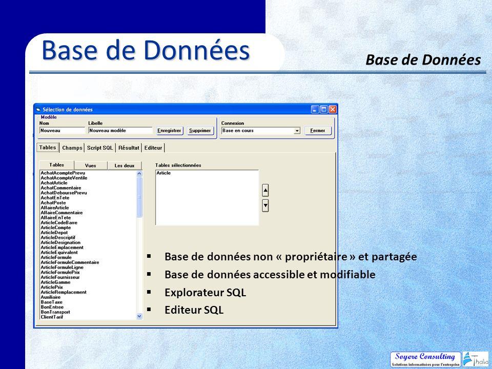 Base de Données Base de Données Base de Données Base de données non « propriétaire » et partagée Base de données accessible et modifiable Explorateur SQL Editeur SQL